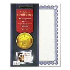 Southworth - foil-enhanced certificates, 8-1/2 x 11, silver border, 15/pack, sold as 1 pk