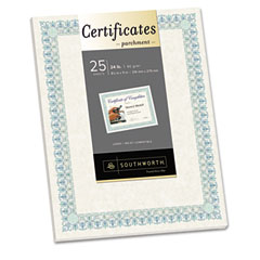 Southworth - foil-enhanced certificates, 8-1/2 x 11, green border, 25/pack, sold as 1 pk