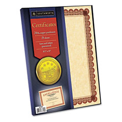 Southworth - copper parchment certificates, 24#, 25/pack, sold as 1 pk