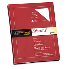 Southworth - 100% cotton resume paper, 32 lbs., 8-1/2 x 11, white, 100/box, sold as 1 bx