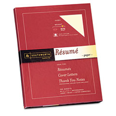 Southworth - 100% cotton resume paper, 32 lbs., 8-1/2 x 11, ivory, 100/box, sold as 1 bx
