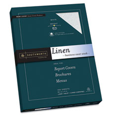 Southworth Z550CK 25% Cotton Linen Business Coverstock, White, 65 Lbs, 8-1/2 X 11, 100/Box, Fsc