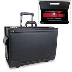 Stebco 341626BLK Wheeled Catalog Case, Leather-Trimmed Tufide, 21-3/4 X 15-1/2 X 9-3/4, Black