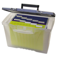 Storex - portable file storage box w/organizer lid, letter/legal, clear, sold as 1 ea