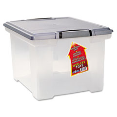 Storex - portable file tote w/locking handle storage box, letter/legal, clear, sold as 1 ea
