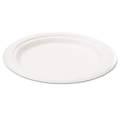 Naturehouse - bagasse 6-inch plate, round, white, 125/pack, sold as 1 pk