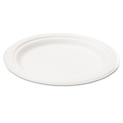 Naturehouse - bagasse 10-inch plate, round, white, 125/pack, sold as 1 pk
