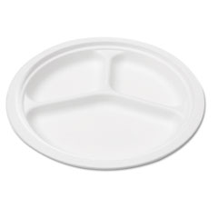 Naturehouse - bagasse 10-inch three-compartment plate, round, white, 125/pack, sold as 1 pk