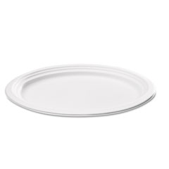 Naturehouse - bagasse oval plate, 9-inch x 6-1/2-inch, white, 125/pack, sold as 1 pk