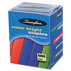 Swingline - color bright staples, 6,000/pack, sold as 1 pk