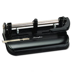 Swingline - 32-sheet lever handle two- to seven-hole punch, 9/32 diameter holes, black, sold as 1 ea