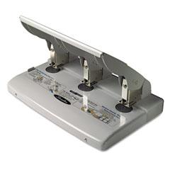 Swingline - 75-sheet heavy-duty three-hole adjustable punch, 9/32 diameter hole, putty/gray, sold as 1 ea