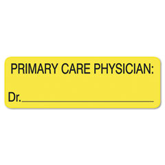 Tabbies - labels for primary care physician, 1 x 3, yellow, 250/roll, sold as 1 rl