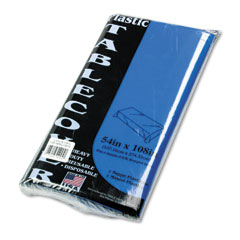 Tablemate - table set rectangular table cover, heavyweight plastic, 54 x 108, blue, 6/pack, sold as 1 pk