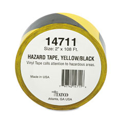 Tatco 14711 Hazard Marking Aisle Tape, 2W X 108 Ft. Roll