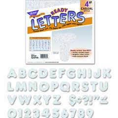 Trend - ready letters sparkles letter set, silver sparkle, 4-inchh, 71/set, sold as 1 st