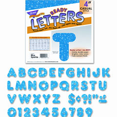 Trend - ready letters sparkles letter set, blue sparkle, 4-inchh, 71/set, sold as 1 st