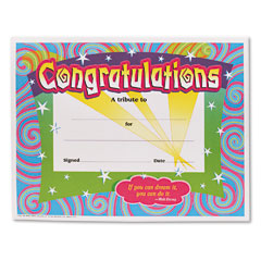 Trend - congratulations certificates, 8-1/2 x 11, white border, 30/pack, sold as 1 pk