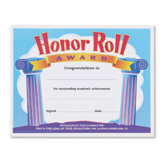 Trend - honor roll award certificates, 8-1/2 x 11, 30/pack, sold as 1 pk