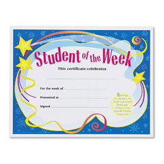 Trend - student of the week certificates, 8-1/2 x 11, white border, 30/pack, sold as 1 pk
