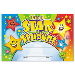 Trend - recognition awards, i'm a star student, 8 1/2w by 5 1/2h, 30/pack, sold as 1 pk