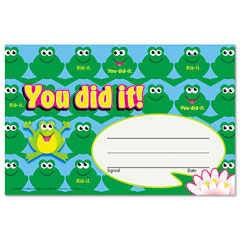 Trend - recognition awards, you did it--frogs, 8 1/2w by 5 1/2h, 30/pack, sold as 1 pk