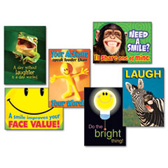 Trend - assorted -inchattitude and smiles-inch themed motivational prints, 13 3/8 x 19, 6/pack, sold as 1 pk