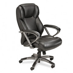 Mayline UL350HBLK Ultimo 300 Series High-Back Swivel/Tilt Chair, Black Leather