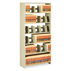 Tennsco 1276PCSD Snap-Together Open Shelving Steel 6-Shelf Closed Starter Set, 36 X 12 X 76, Sand