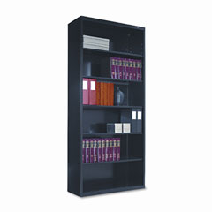 Tennsco - metal bookcase, 6 shelves, 34-1/2w x 13-1/2d x 78h, black, sold as 1 ea