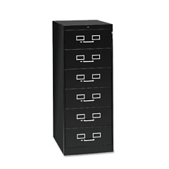 Tennsco CF-669BK 6-Drawer Multimedia Cabinet For 6 X 9 Cards, 21-1/4W X 52H, Black