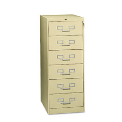 Tennsco CF-669PY 6-Drawer Multimedia Cabinet For 6 X 9 Cards, 21-1/4W X 52H, Putty