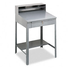 Tennsco - open steel shop desk, 36w x 30d x 53-3/4h, medium gray, sold as 1 ea