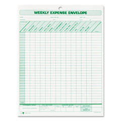 Tops - weekly expense envelope, 8-1/2 x 11, 20 forms, sold as 1 pk