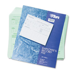 Tops 3287 Employee Record File Folders, Straight Cut, Letter, Green, 20/Pack