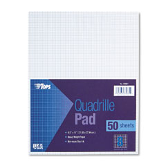 Tops 33081 Quadrille Pads, 8 Squares/Inch, 8-1/2 X 11, White, 50 Sheets/Pad