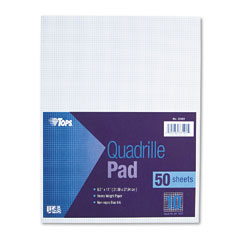 Tops 33101 Quadrille Pads, 10 Squares/Inch, 8-1/2 X 11, White, 50 Sheets/Pad