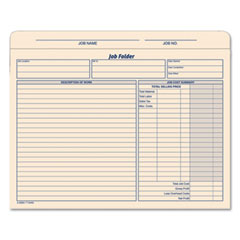 Tops - jacket style job folders, straight, index top tab, letter, manila, 20/pack, sold as 1 pk
