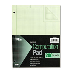 Tops 35502 Engineering Computation Pad, Quadrille Rule, Letter, Green, 200 Sheets/Pad