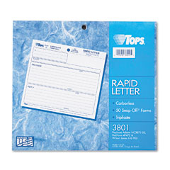 Tops - rapid letter message memos form, 8-1/2 x 7, three-part carbonless, 50 forms, sold as 1 pk