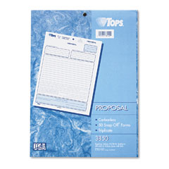 Tops - snap-off proposal form, 8-1/2 x 11, three-part carbonless, 50 forms, sold as 1 pk