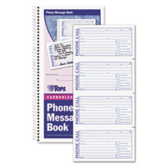 Tops - spiralbound message book, 2-3/4 x 5, two-part carbonless, 400/book, sold as 1 ea
