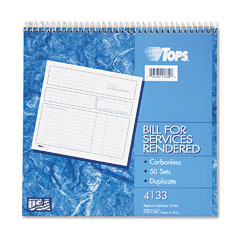Tops - spiralbound service invoices, 8-1/2 x 7-3/4, two-part carbonless, 50 sets/book, sold as 1 ea