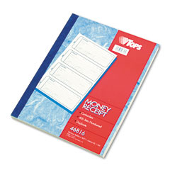 Tops - money and rent receipt books, 7-1/4 x 2-3/4, two-part carbonless, 400 sets/book, sold as 1 ea