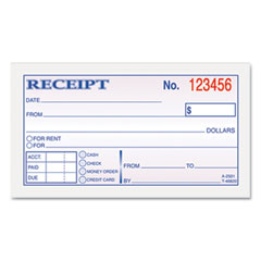 Tops - money and rent receipt books, 2-3/4 x 5, two-part carbonless, 50 sets/book, sold as 1 ea