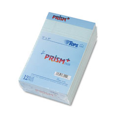 Tops 63020 Prism Plus Colored Jr. Legal Pads, 5 X 8, Blue, 50-Sheet Pads, 12/Pack