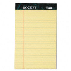 Tops 63350 Docket Ruled Perforated Pad,Jr. Legal Ruling, 5 X 8,Canary,12 50-Sheet Pads/Pack