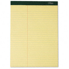 Tops - double docket ruled pads, law rule, letter, canary, 6 100-sheet pads/pack, sold as 1 pk