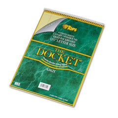 Tops - docket wirebound ruled pad w/cover, legal rule, ltr, canary, 70 sheets/pad, sold as 1 ea