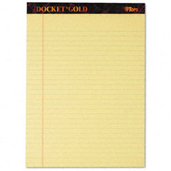 Tops - docket gold perforated pads, legal rule, letter, canary, 12 50-sheets pads/pack, sold as 1 pk
